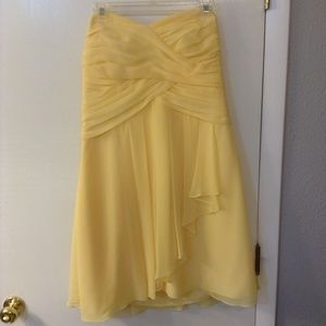 David`s Bridal short yellow strapless Sz14 dress